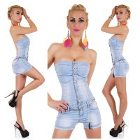 SEXY HOTPANTS JEANS OVERALL JUMPSUIT INCL. CHAIN LIGHT BLUE