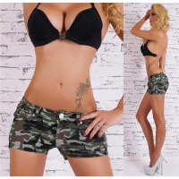 SEXY JEANS HOTPANTS ARMY CAMOUFLAGE-LOOK OLIVE-GREEN UK 12 (M)