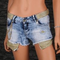 SEXY FRINGED JEANS HOTPANTS WITH GLITTERING BAND LIGHT BLUE/GOLD