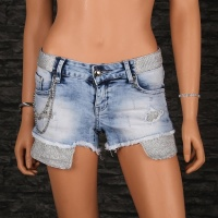 SEXY FRINGED JEANS HOTPANTS WITH GLITTERING BAND LIGHT BLUE/SILVER