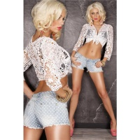 SEXY JEANS HOTPANTS WITH POLKA DOTS LIGHT BLUE UK 10 (S)