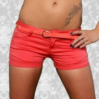 SEXY JEANS HOTPANTS SHORTS WITH TURN-UP HEM APRICOT UK 16