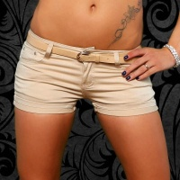 SEXY JEANS HOTPANTS SHORTS WITH TURN-UP HEM BEIGE UK 10