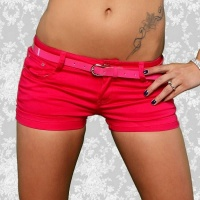 SEXY JEANS HOTPANTS SHORTS KURZE HOSE MIT UMSCHLAG PINK