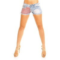 SEXY JEANS HOTPANTS SHORTS WITH US-PRINT AND FRINGES LIGHT BLUE