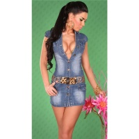 SEXY JEANS MINI DRESS WITH LEO-BELT BLUE UK 8 (S)