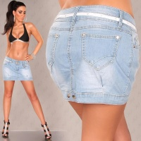 SEXY JEANS MINISKIRT SKIRT WITH BELT LIGHT BLUE UK 8 (S)