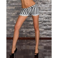 SEXY JEANS SHORTS HOTPANTS WITH STRIPES BLACK/WHITE