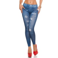 SEXY JEGGINGS LEGGINGS IN JEANS-LOOK DESTROYED PRINT BLUE Onesize (UK 8,10,12)