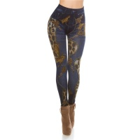 SEXY JEGGINGS LEGGINGS IN JEANS-LOOK WITH LEO-PRINT DARK...