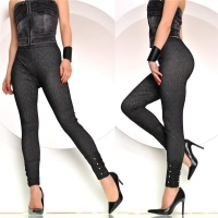 SEXY JEGGINGS LEGGINGS JEANS-OPTIK MIT STRASS AM SAUM...