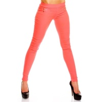 SEXY JEGGINGS LEGGINGS STRETCH PANTS CORAL UK 14 (L)