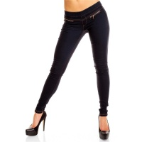 SEXY JEGGINGS LEGGINGS STRETCH HOSE MIT ZIER-ZIPPER DUNKELBLAU 40 (L)