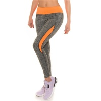 SEXY JOGGING SPORTHOSE FITNESS YOGA LEGGINGS GRAU/NEON ORANGE