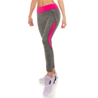 SEXY TRACKIES SWEATPANTS FITNESS YOGA LEGGINGS GREY/NEON-FUCHSIA