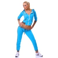 SEXY JOGGING SUIT LEISURE SUIT WITH HOOD TURQUOISE/LEOPARD