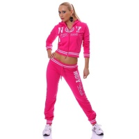 SEXY JOGGING SUIT LEISURE SUIT NEW YORK OFFICIAL FUCHSIA/WHITE UK 16 (XL)