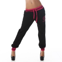 SEXY JOGGING TRACKIES SWEATPANTS WITH EMBROIDERY BLACK/FUCHSIA Onesize (UK 8,10,12)