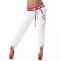 SEXY JOGGING TRACKIES SWEATPANTS WITH EMBROIDERY WHITE/FUCHSIA