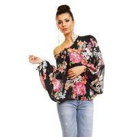 SEXY KIMONO-SHIRT MADE OF CHIFFON WITH FLOWER PRINT BLACK