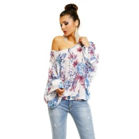 SEXY KIMONO-SHIRT MADE OF CHIFFON WITH FLOWER PRINT WHITE