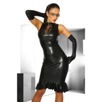 SEXY DRESS WET LOOK FETISH GOGO CLUBWEAR BLACK