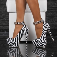 SEXY PLATFORM SHOES HIGH HEELS WITH ANKLE STRAPS GOGO ZEBRA-LOOK
