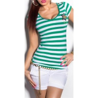 SEXY SHORT-SLEEVED LADIES SHIRT IN NAVY STYLE GREEN/WHITE