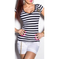 SEXY SHORT-SLEEVED LADIES SHIRT IN NAVY STYLE NAVY/WHITE