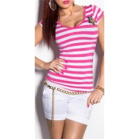 SEXY SHORT-SLEEVED LADIES SHIRT IN NAVY STYLE FUCHSIA/WHITE
