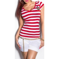 SEXY SHORT-SLEEVED LADIES SHIRT IN NAVY STYLE RED/WHITE