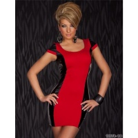 SEXY MINI DRESS BI-COLOUR DESIGN CLUBWEAR RED/BLACK UK 8/10