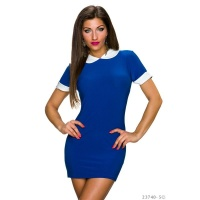 SEXY SHORT-SLEEVED MINIDRESS/LONG SHIRT WITH PETER PAN COLLAR BLUE Onesize (UK 8,10,12)