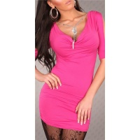 SEXY SHORT-SLEEVED MINIDRESS/LONG SHIRT WITH RHINESTONE-CHAIN FUCHSIA
