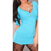 SEXY SHORT-SLEEVED MINIDRESS/LONG SHIRT RHINESTONE-CHAIN TURQUOISE