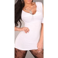 SEXY SHORT-SLEEVED MINIDRESS/LONGSHIRT WITH RHINESTONE-CHAIN WHITE Onesize (UK 8,10,12)