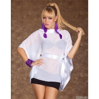 SEXY SHORT-SLEEVED SHIRT WITH SATIN-BELT WHITE