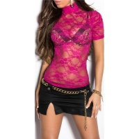 SEXY SHORT-SLEEVED SHIRT MADE OF FLORAL LACE FUCHSIA