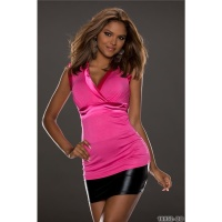 SEXY SHORT-SLEEVED SHIRT IN WRAP LOOK WITH SATIN FUCHSIA