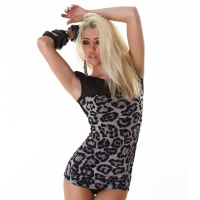 SEXY SHORT-SLEEVED SHIRT LONG SHIRT LEOPARD-LOOK BLACK/GREY UK 10/12 (M/L)