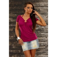 SEXY SHORT-SLEEVED SHIRT WITH METAL RING VIOLET