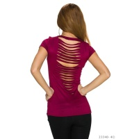 SEXY SHORT-SLEEVED SHIRT WITH RIFTS AT THE BACK WINE-RED