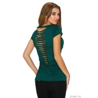 SEXY SHORT SLEEVED-SHIRT WITH RIFTS AT THE BACK DARK GREEN