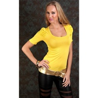 SEXY SHORT-SLEEVED SHIRT WITH PUFF SLEEVES YELLOW