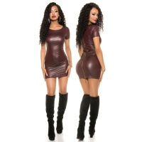 SEXY SHORT-SLEEVED WET LOOK MINI DRESS WITH ZIPPER...