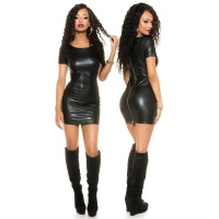 SEXY SHORT-SLEEVED WET LOOK MINIDRESS WITH ZIPPER CLUBWEAR BLACK