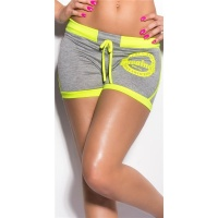 SEXY SWEAT SHORTS TRACKIES HOTPANTS WITH PRINT GREY/NEON-YELLOW Onesize (UK 10,12,14)