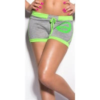 SEXY SWEAT SHORTS TRACKIES HOTPANTS WITH PRINT GREY/NEON-GREEN Onesize (UK 10,12,14)