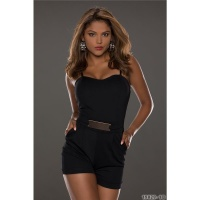 SEXY SHORT HOTPANTS OVERALL JUMPSUIT WITH GOLDE-COLOURED BUCKLE BLACK Onesize (UK 8,10,12)