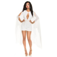 SEXY SHORT OVERALL PLAYSUIT WITH LONG CHIFFON SLEEVES WHITE UK 12 (M)
